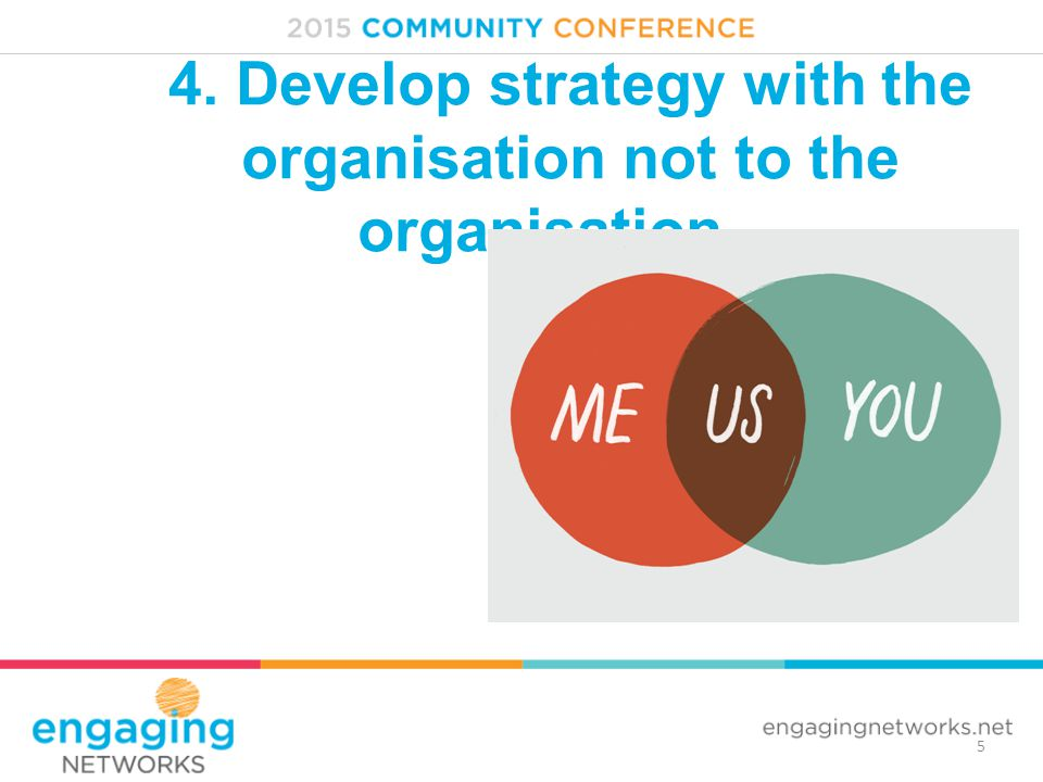5 4. Develop strategy with the organisation not to the organisation…