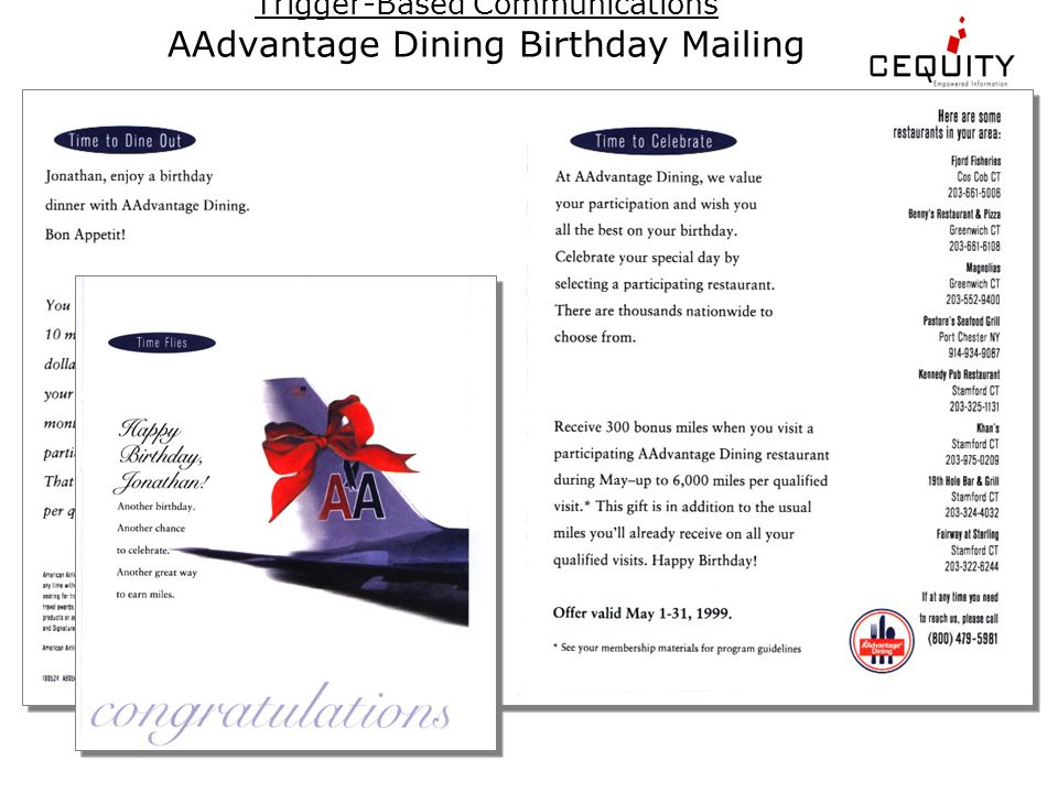 Trigger-Based Communications AAdvantage Dining Birthday Mailing