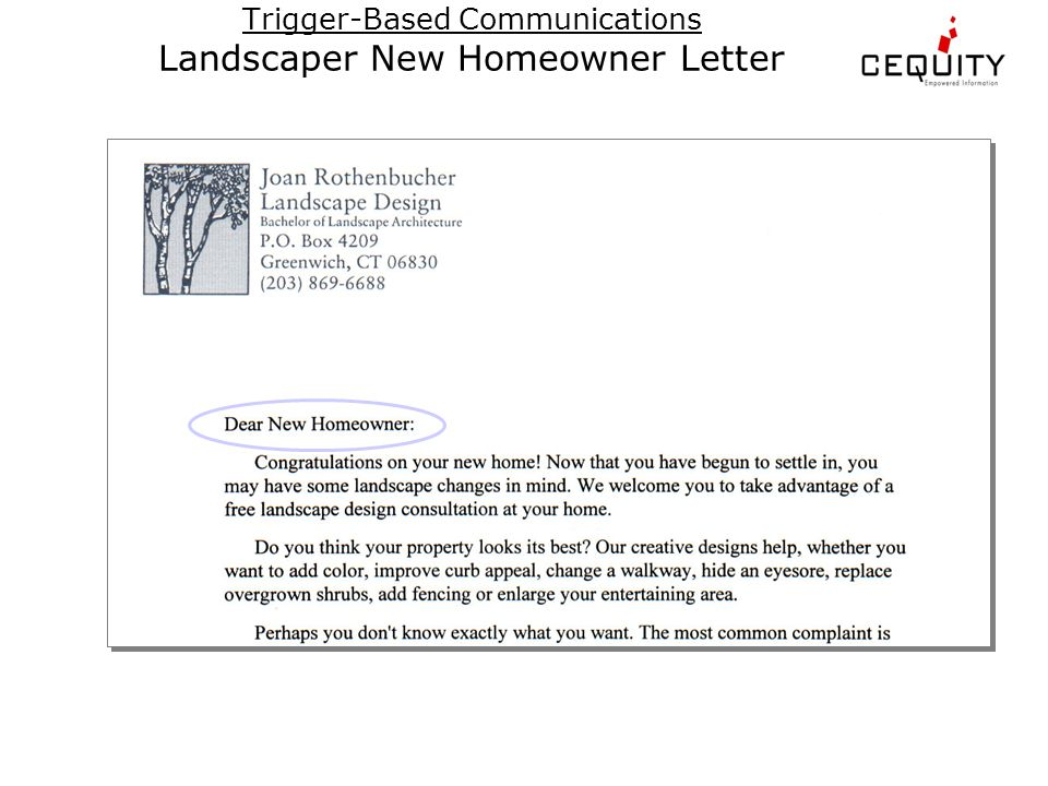 Trigger-Based Communications Landscaper New Homeowner Letter