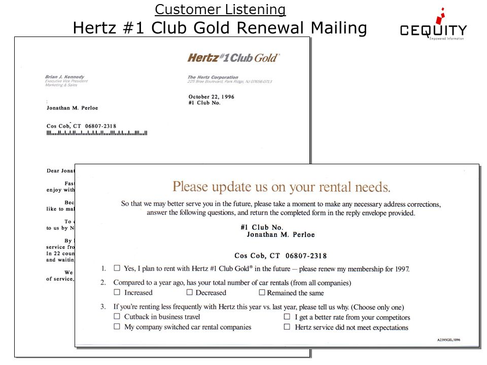 Customer Listening Hertz #1 Club Gold Renewal Mailing