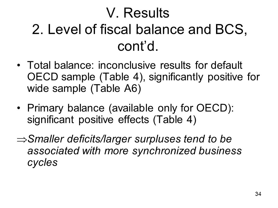34 V. Results 2. Level of fiscal balance and BCS, cont'd.