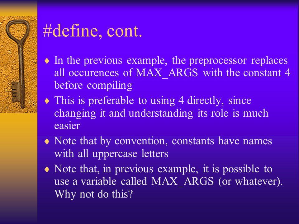 #define, cont.
