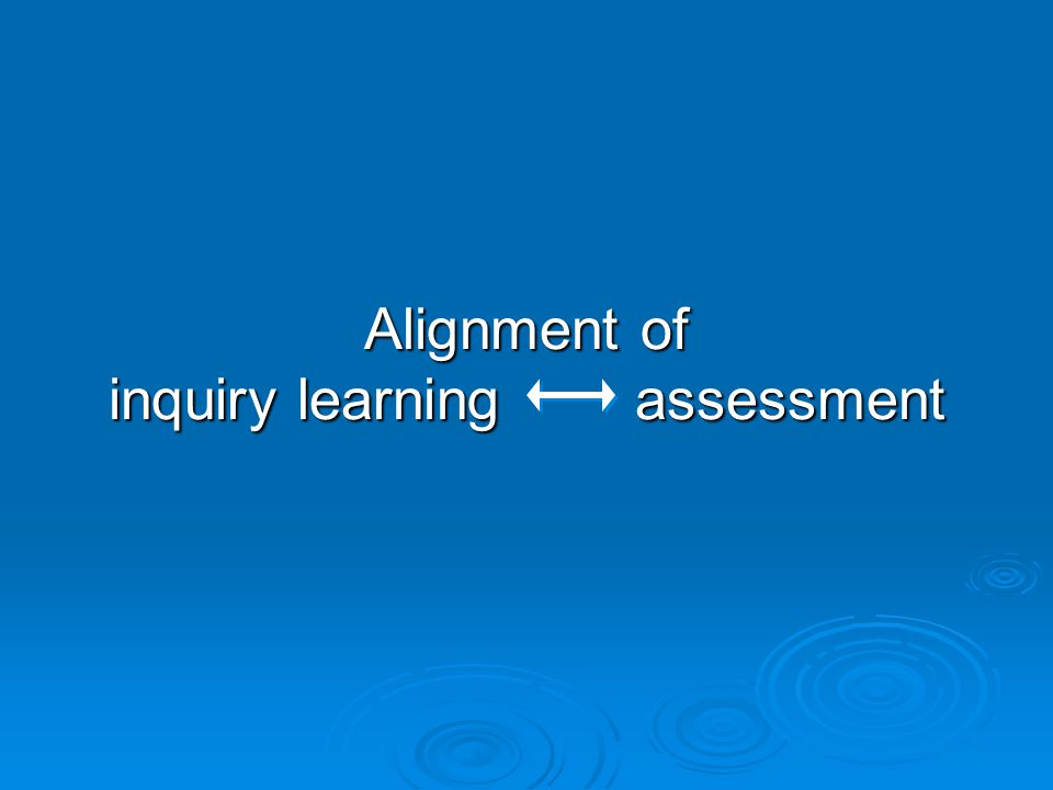 Alignment of inquiry learning assessment