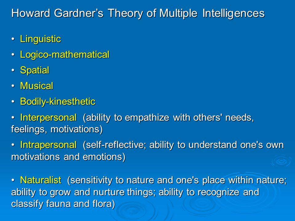 Howard Gardner's Theory of Multiple Intelligences Linguistic Linguistic Logico-mathematical Logico-mathematical Spatial Spatial Musical Musical Bodily