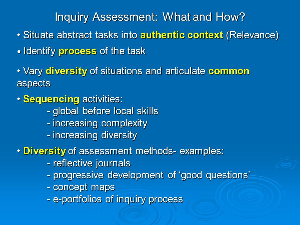 Inquiry Assessment: What and How.