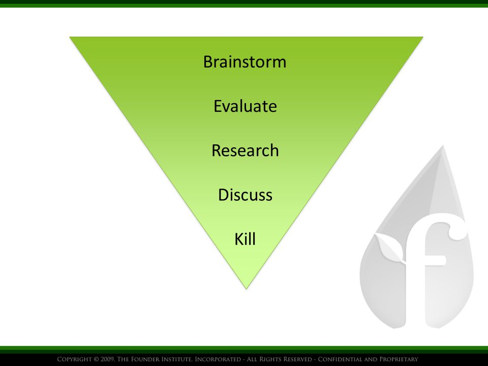 Brainstorm Evaluate Research Kill Discuss