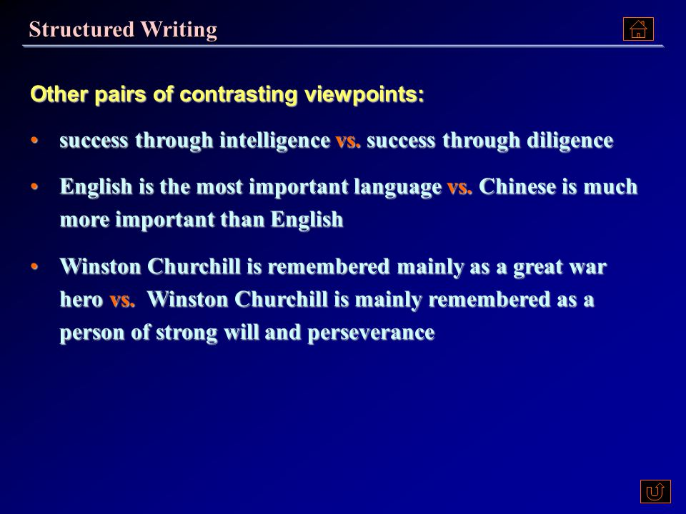 Here is one pair of contrasting viewpoints for you to develop your own paragraph: Ex.