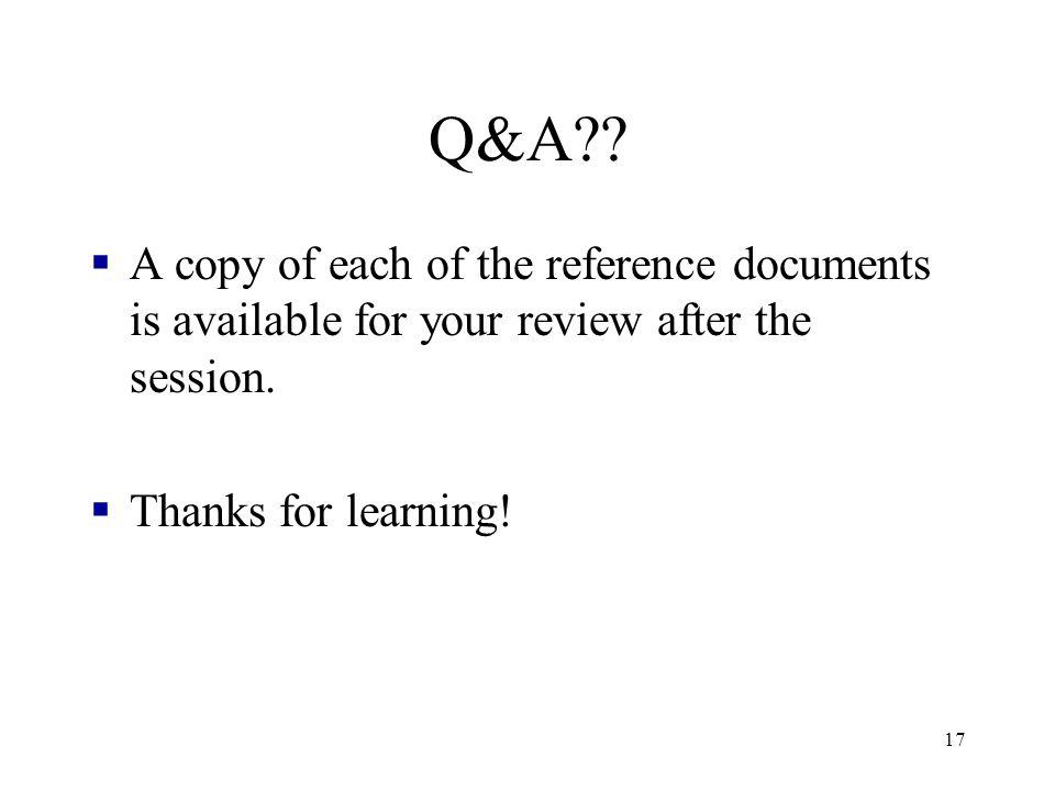 17 Q&A?.