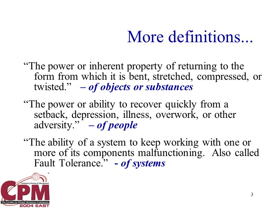 3 More definitions...