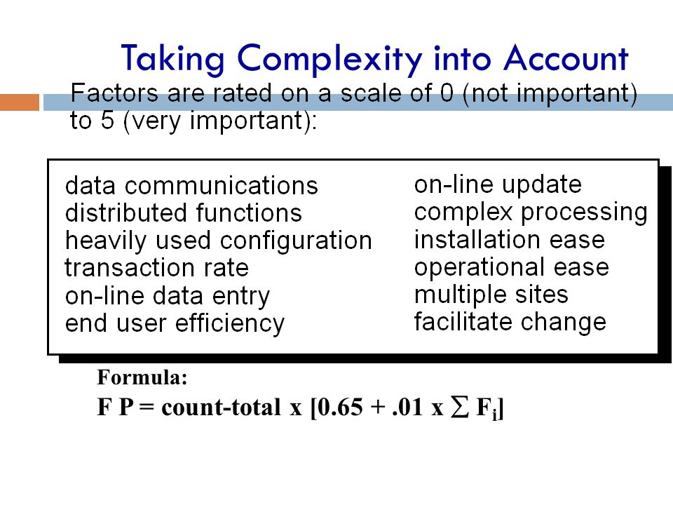 Taking Complexity into Account Formula: F P = count-total x [0.65 +.01 x  F i ]