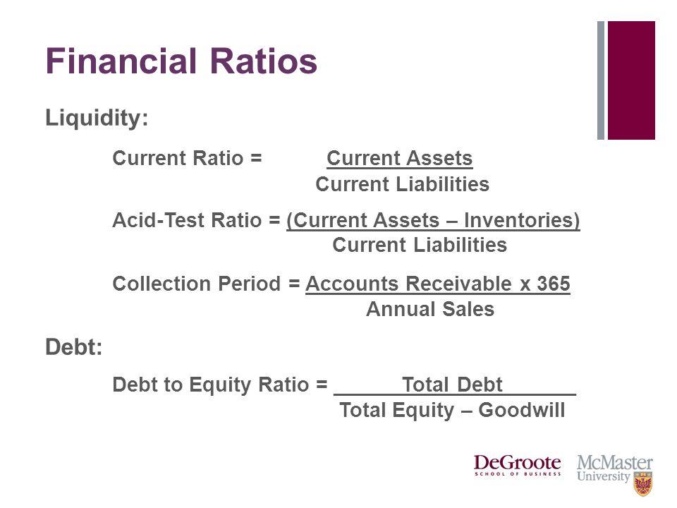 Financial Ratios Liquidity: Current Ratio = Current Assets Current Liabilities Acid-Test Ratio = (Current Assets – Inventories) Current Liabilities Co