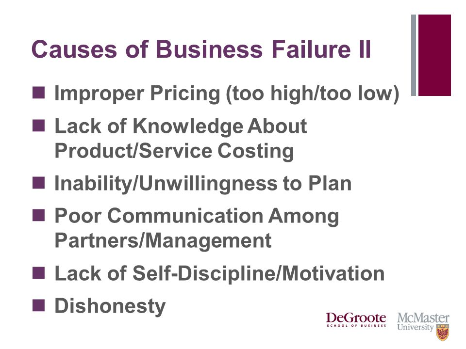 Causes of Business Failure II Improper Pricing (too high/too low) Lack of Knowledge About Product/Service Costing Inability/Unwillingness to Plan Poor Communication Among Partners/Management Lack of Self-Discipline/Motivation Dishonesty