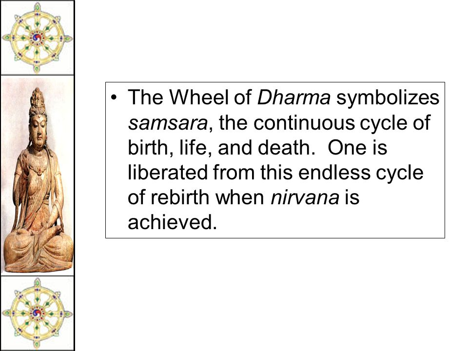 The Wheel of Dharma symbolizes samsara, the continuous cycle of birth, life, and death.