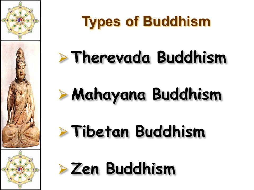 Types of Buddhism  Therevada Buddhism  Mahayana Buddhism  Tibetan Buddhism  Zen Buddhism  Therevada Buddhism  Mahayana Buddhism  Tibetan Buddhi