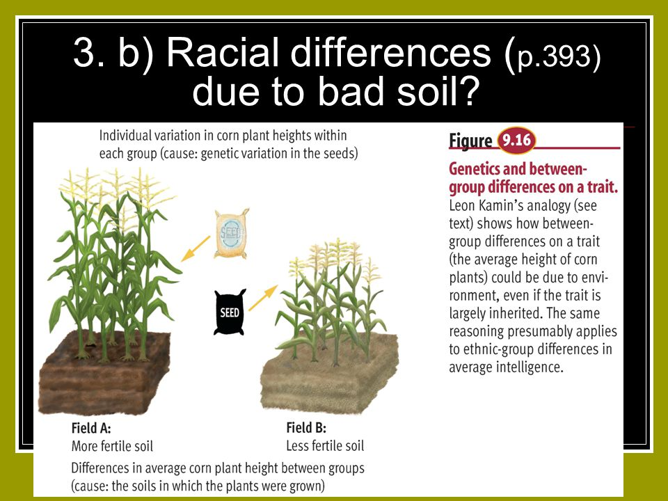 3. b) Racial differences ( p.393) due to bad soil?