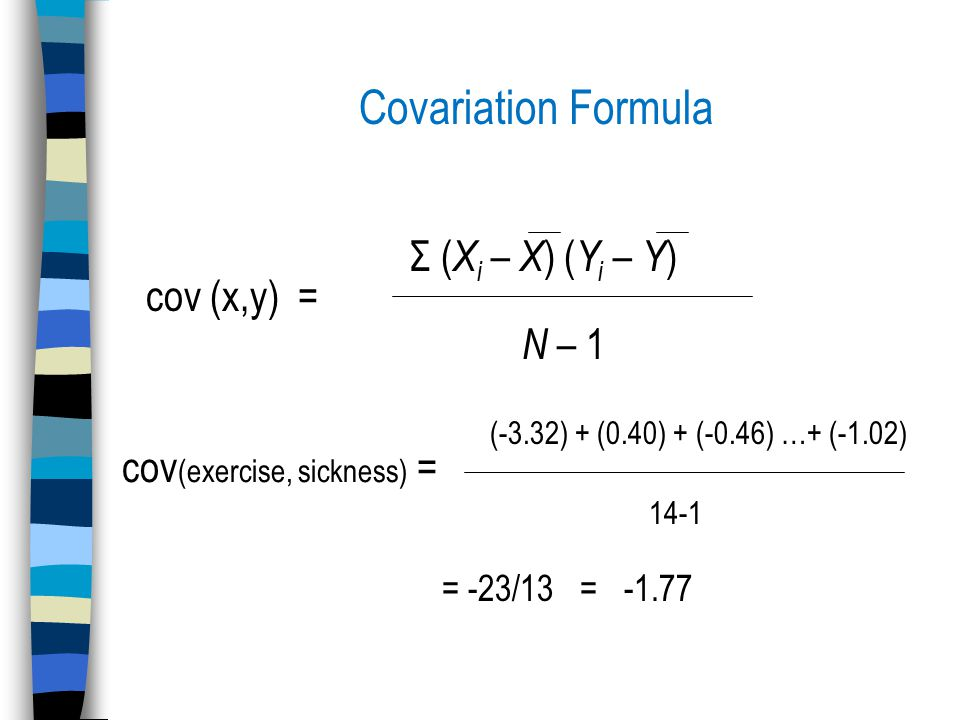 Covariation Formula cov (x,y) = Σ ( X i – X ) ( Y i – Y ) N – 1 cov (exercise, sickness) = (-3.32) + (0.40) + (-0.46) …+ (-1.02) 14-1 = -23/13 = -1.77