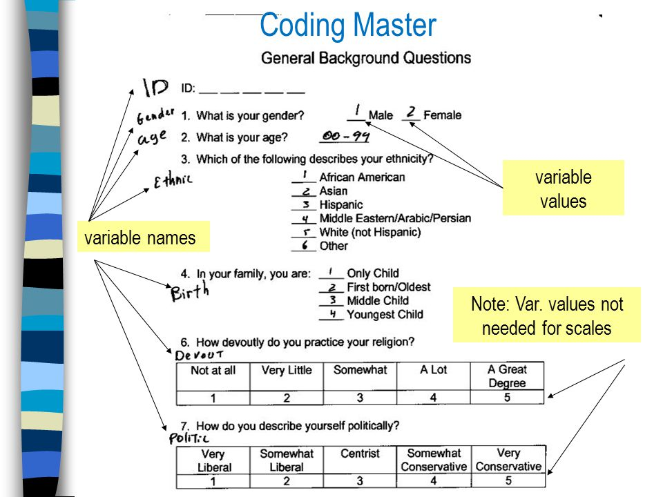 Coding Master variable names variable values Note: Var. values not needed for scales