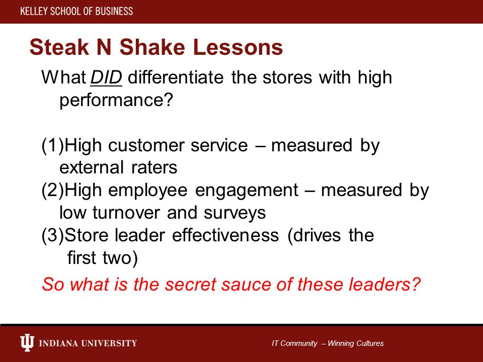 IT Community – Winning Cultures Steak N Shake Lessons What DID differentiate the stores with high performance.