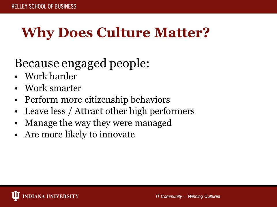 IT Community – Winning Cultures Why Does Culture Matter.