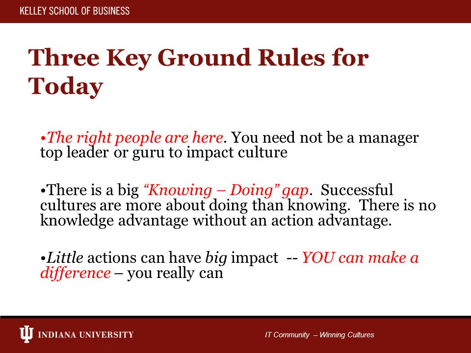 IT Community – Winning Cultures Three Key Ground Rules for Today The right people are here.
