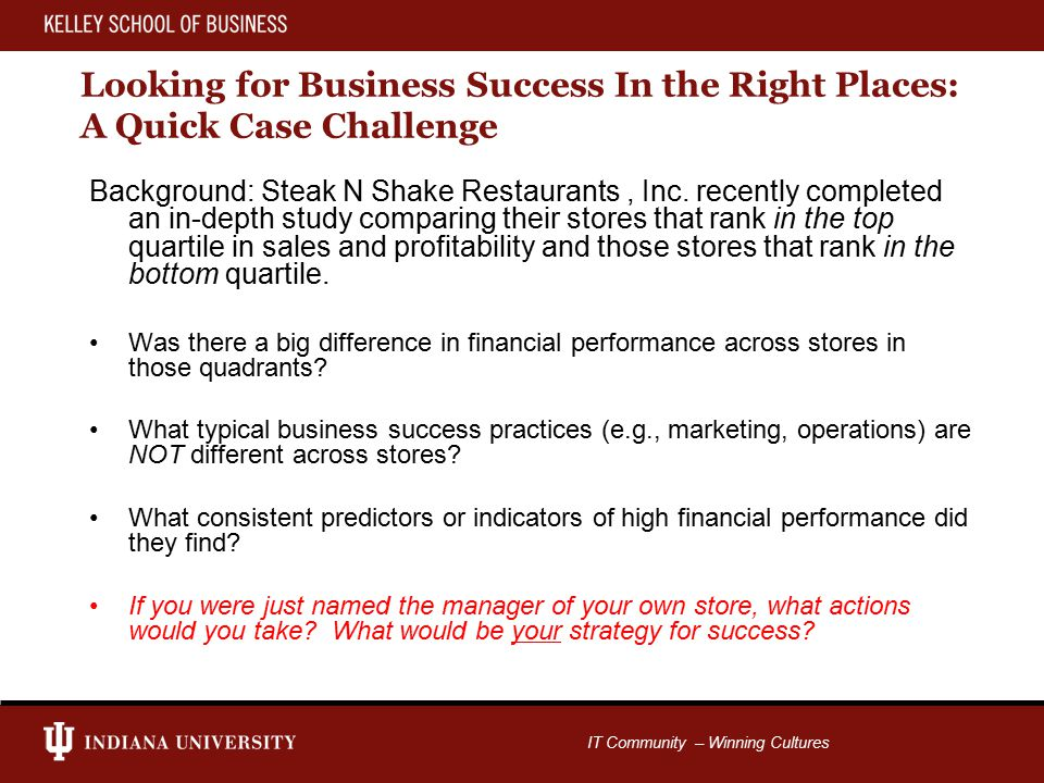 IT Community – Winning Cultures Looking for Business Success In the Right Places: A Quick Case Challenge Background: Steak N Shake Restaurants, Inc.