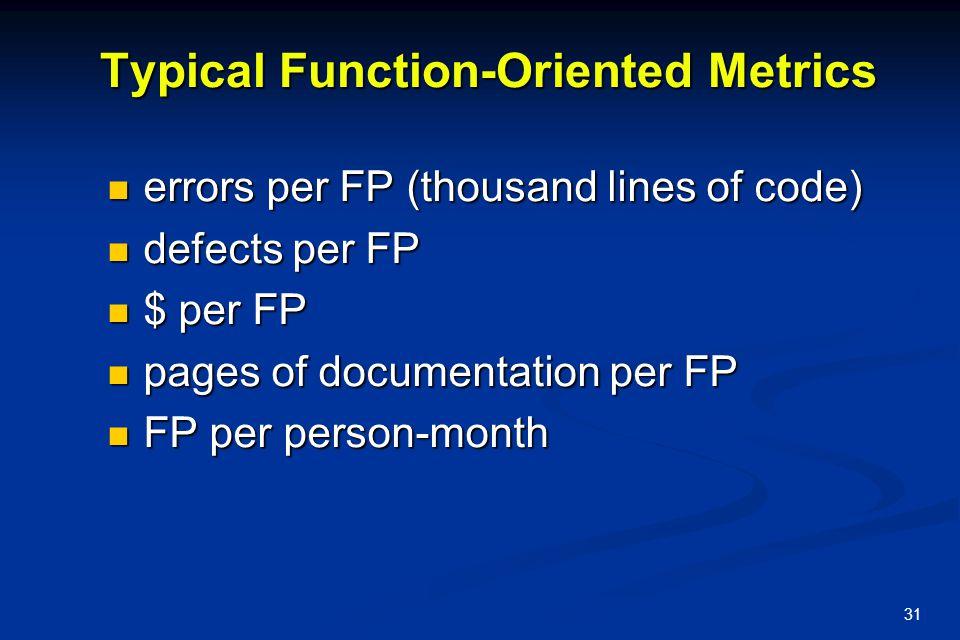 31 Typical Function-Oriented Metrics errors per FP (thousand lines of code) errors per FP (thousand lines of code) defects per FP defects per FP $ per
