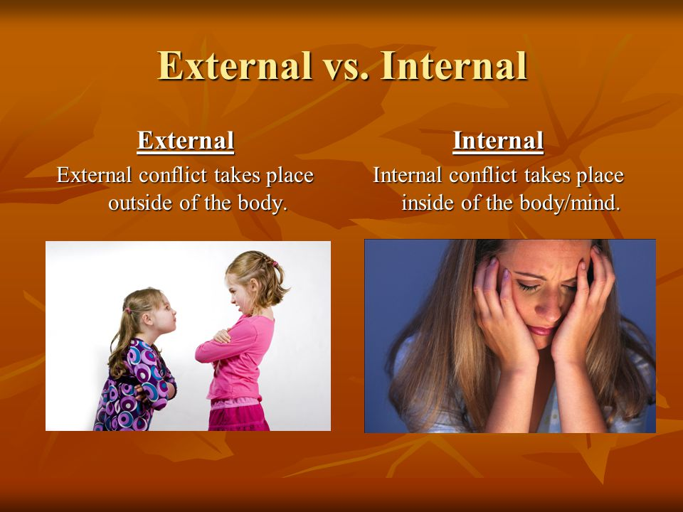 External vs. Internal External External conflict takes place outside of the body.