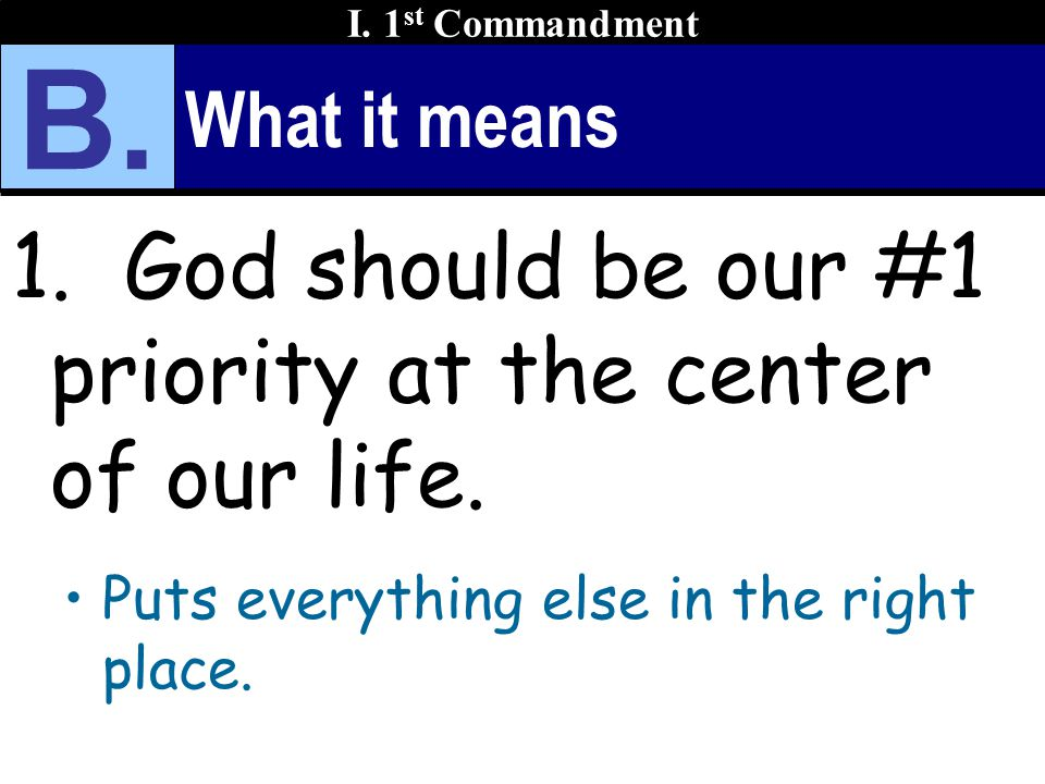 What it means 1. God should be our #1 priority at the center of our life.