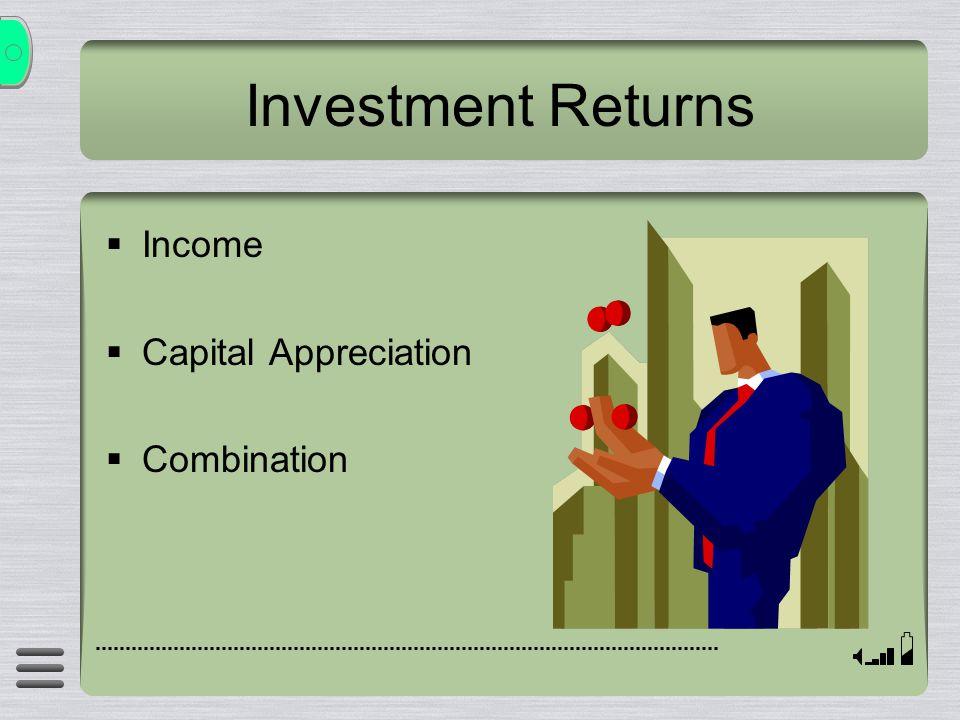 Investment Returns  Income  Capital Appreciation  Combination
