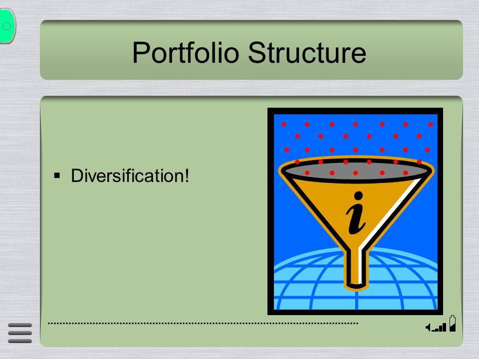 Portfolio Structure  Diversification!