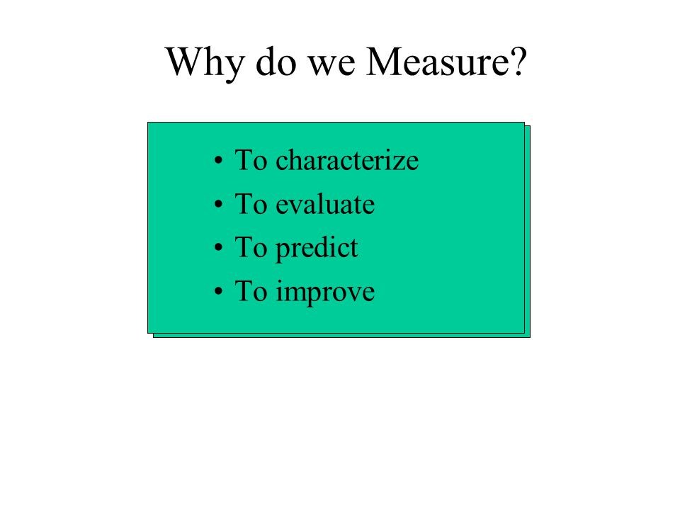 Measures, Metrics, and Indicators A measure provides a quantitative indication of the extent, amount, dimension, capacity, or size of some attribute of a product or process.
