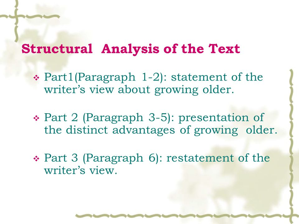 Structural Analysis of the Text  Part1(Paragraph 1-2): statement of the writer's view about growing older.