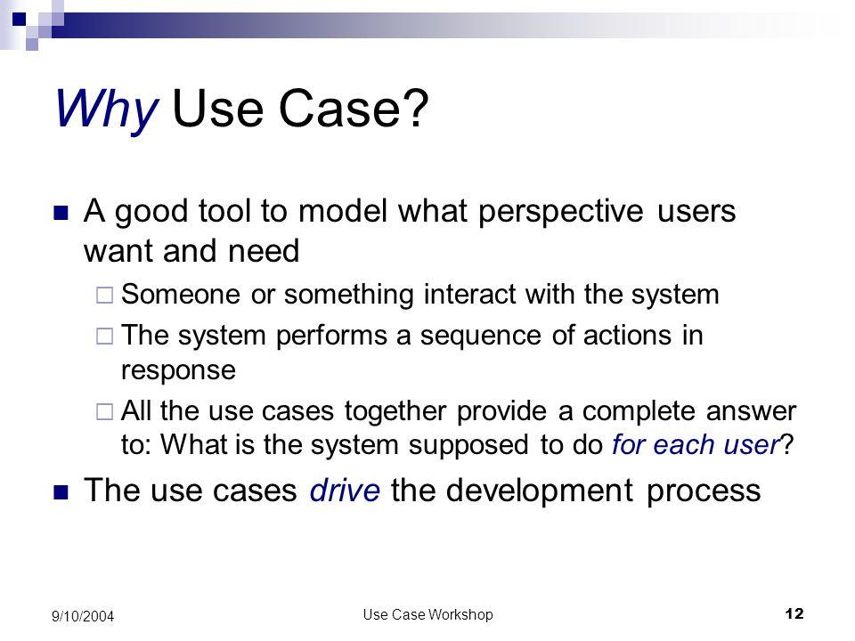 Use Case Workshop12 9/10/2004 Why Use Case.
