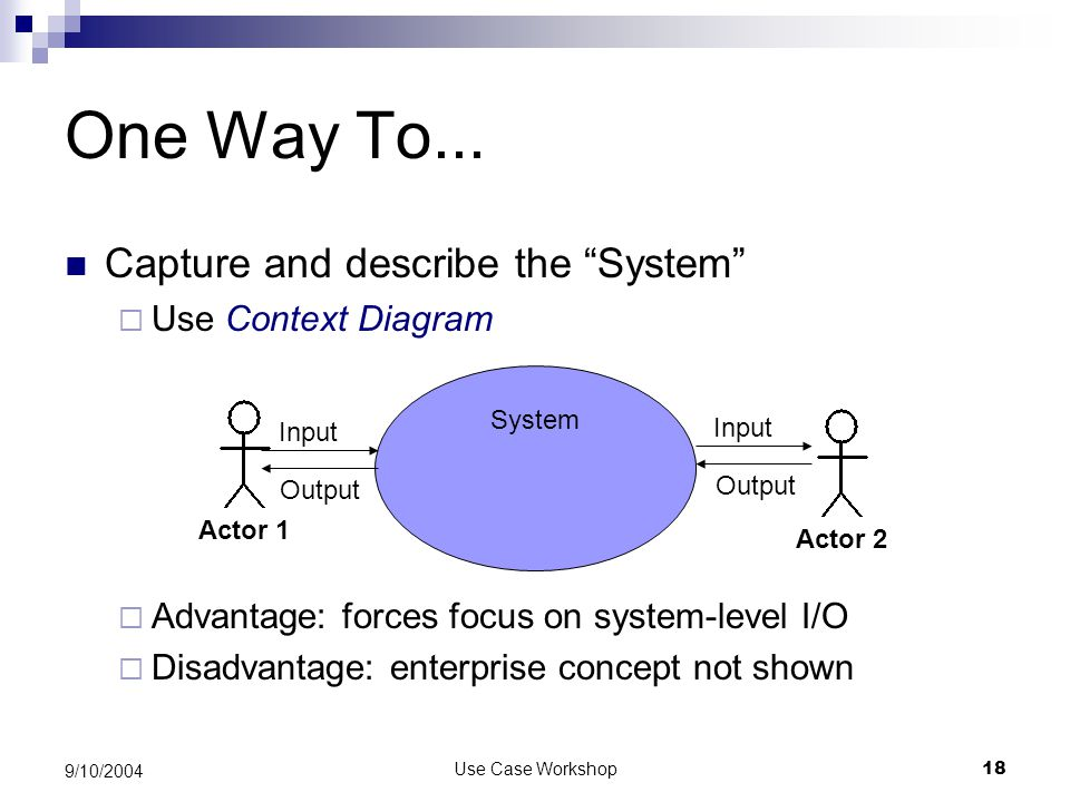 Use Case Workshop18 9/10/2004 One Way To...