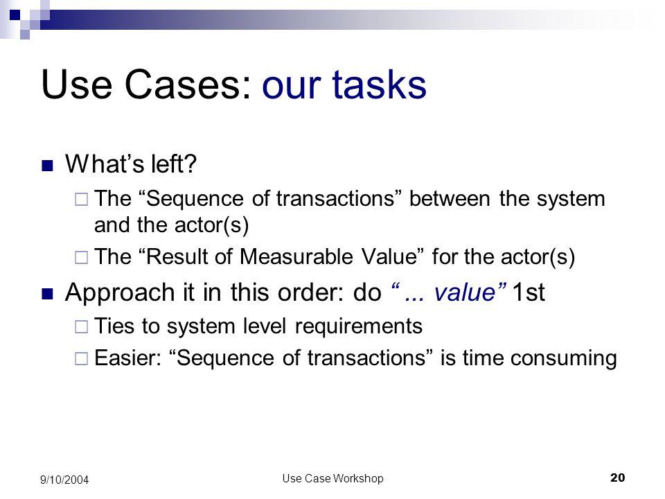 Use Case Workshop20 9/10/2004 Use Cases: our tasks What's left.