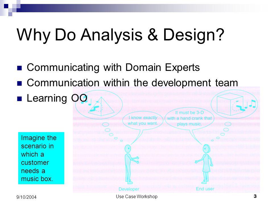 Use Case Workshop3 9/10/2004 Why Do Analysis & Design.