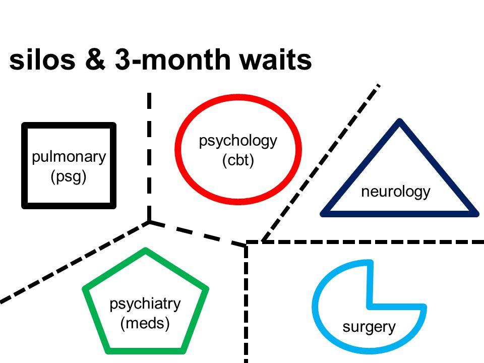 silos & 3-month waits pulmonary (psg) psychology (cbt) neurology psychiatry (meds) surgery