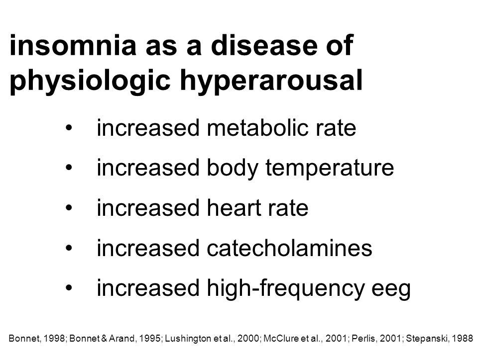 insomnia as a disease of physiologic hyperarousal Bonnet, 1998; Bonnet & Arand, 1995; Lushington et al., 2000; McClure et al., 2001; Perlis, 2001; Ste
