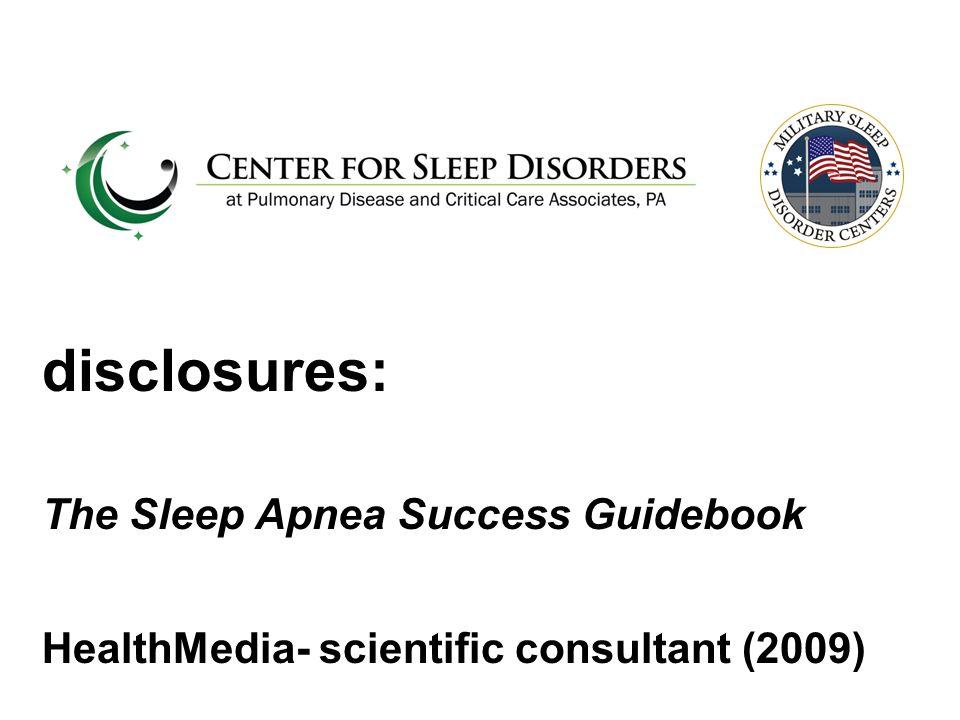 disclosures: The Sleep Apnea Success Guidebook HealthMedia- scientific consultant (2009)