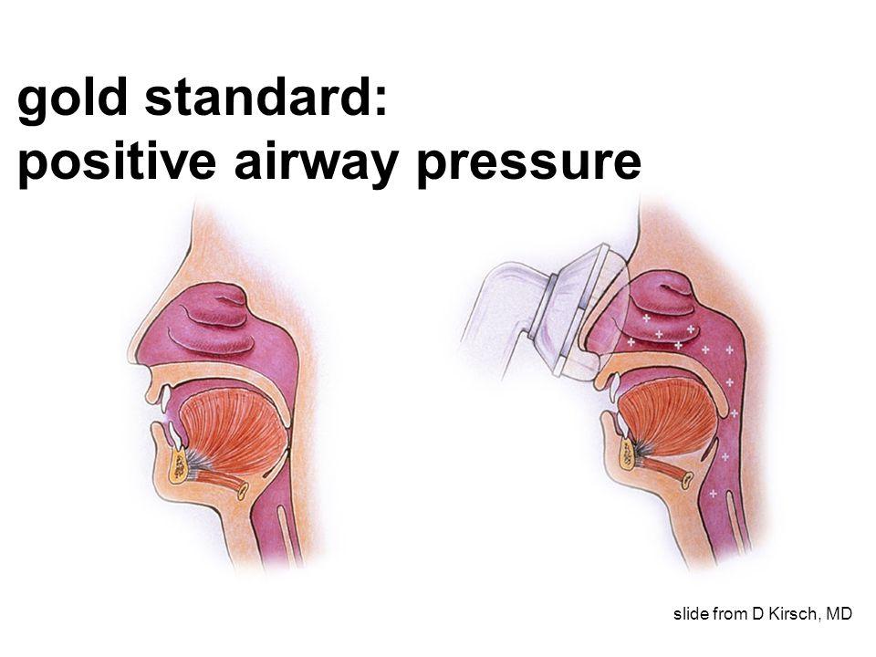 gold standard: positive airway pressure slide from D Kirsch, MD