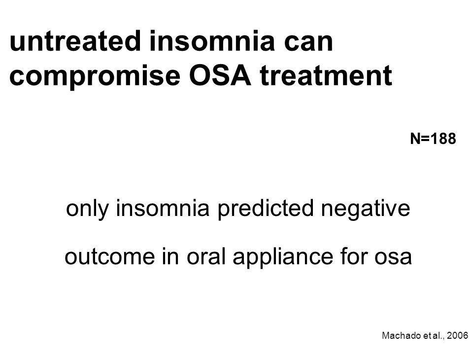 untreated insomnia can compromise OSA treatment only insomnia predicted negative outcome in oral appliance for osa Machado et al., 2006 N=188
