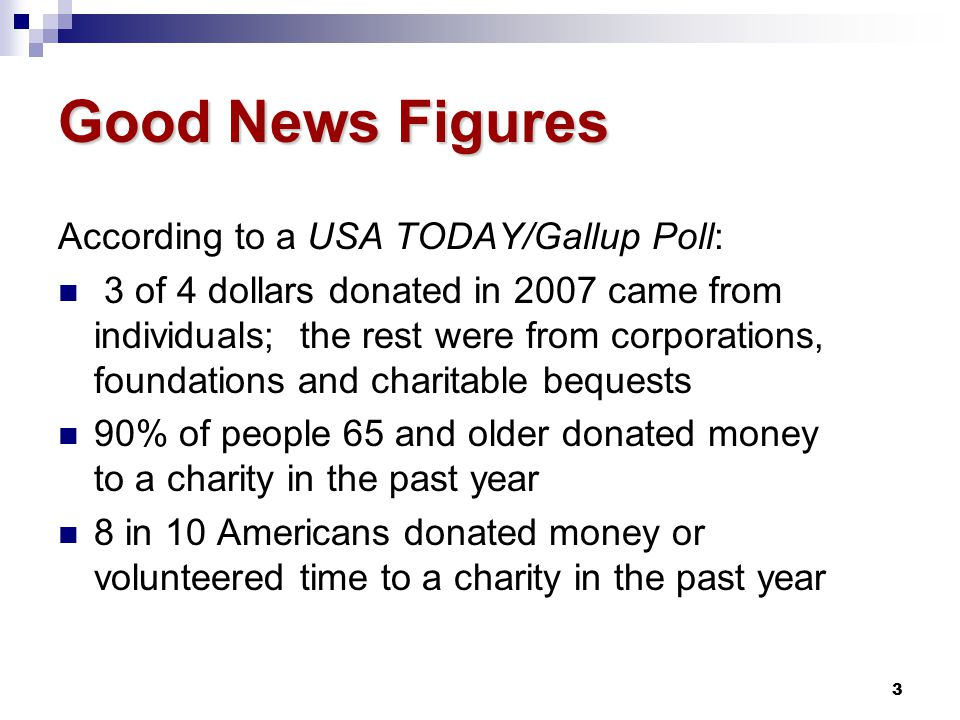 4 Good News Figures Non-Profit Times says 8 out of 10 appeals are opened and looked at; direct mail still is the best-read medium Vertis' Customer Focus Poll, Non-Profit: 59% who give use direct mail for philanthropy 62% say the most important factor is the personalized nature of appeals; 59% say timing; special offer 32%; urgency 30%
