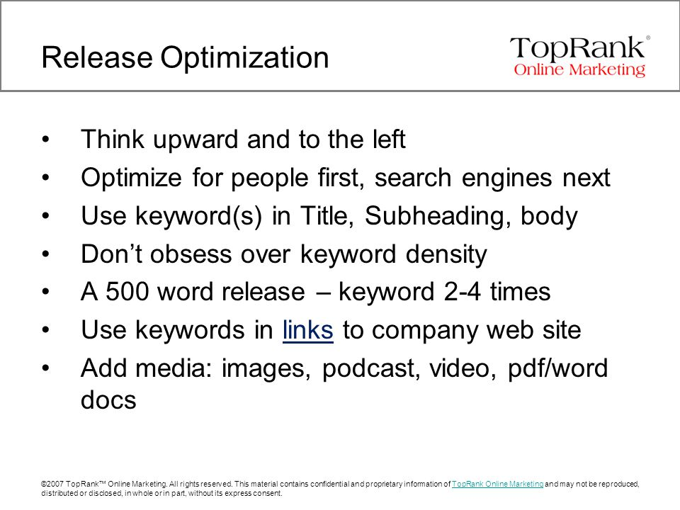 ©2007 TopRank™ Online Marketing. All rights reserved.