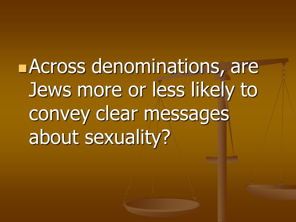 Across denominations, are Jews more or less likely to convey clear messages about sexuality? Across denominations, are Jews more or less likely to con