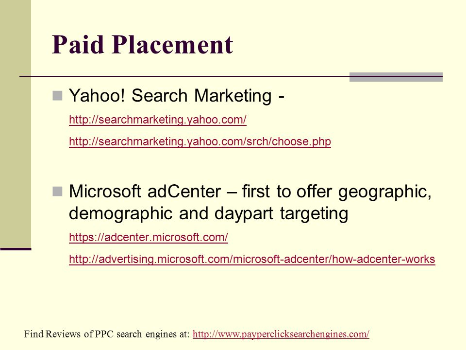 Paid Placement Yahoo.