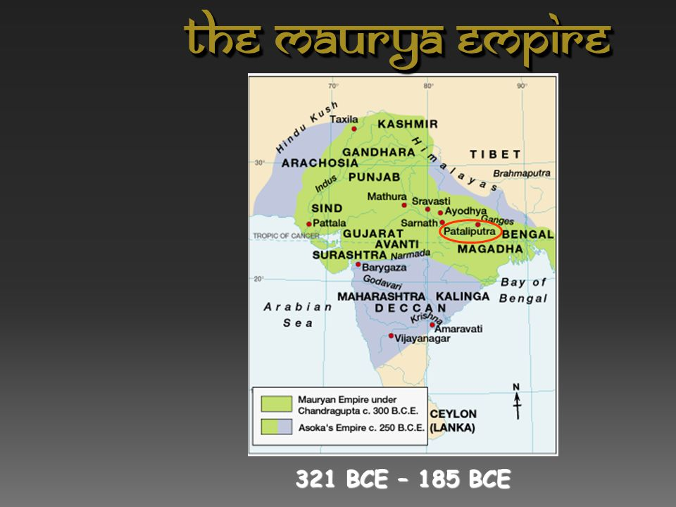 Chandragupta : 321 BCE-298 BCE  Unified northern India.  Defeated the Persian general Seleucus.  Divided his empire into provinces, then districts
