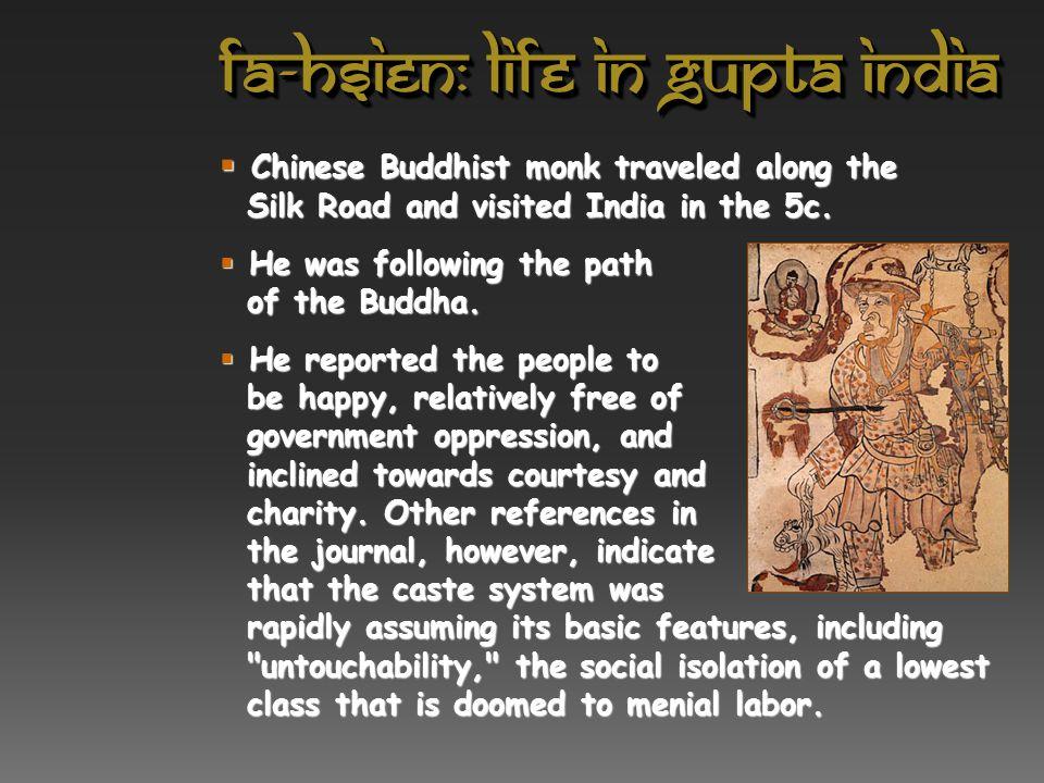 "Gupta Rulers  Chandra Gupta I  r. 320 – 335 CE  ""Great King of Kings""  Chandra Gupta II  r. 375 - 415 CE  Profitable trade with the Mediterranea"