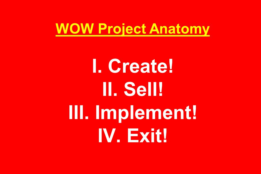 WOW Project Anatomy I. Create! II. Sell! III. Implement! IV. Exit!