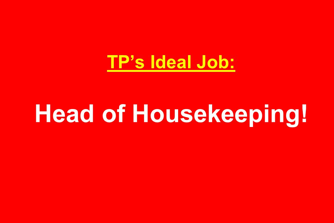 TP's Ideal Job: Head of Housekeeping!