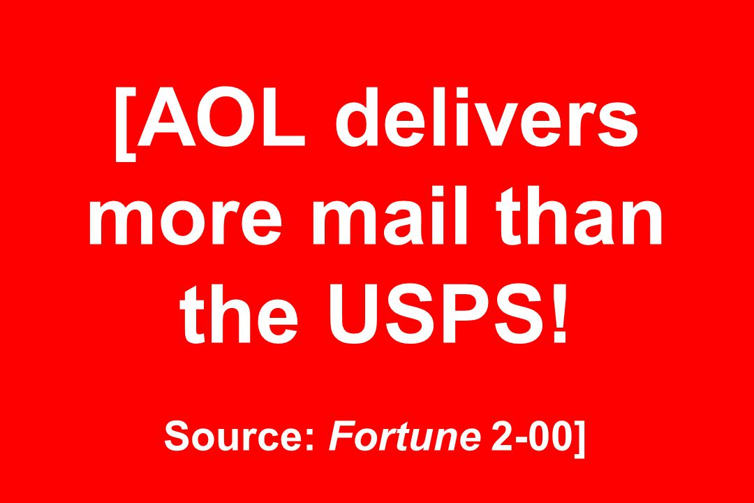 [AOL delivers more mail than the USPS! Source: Fortune 2-00]